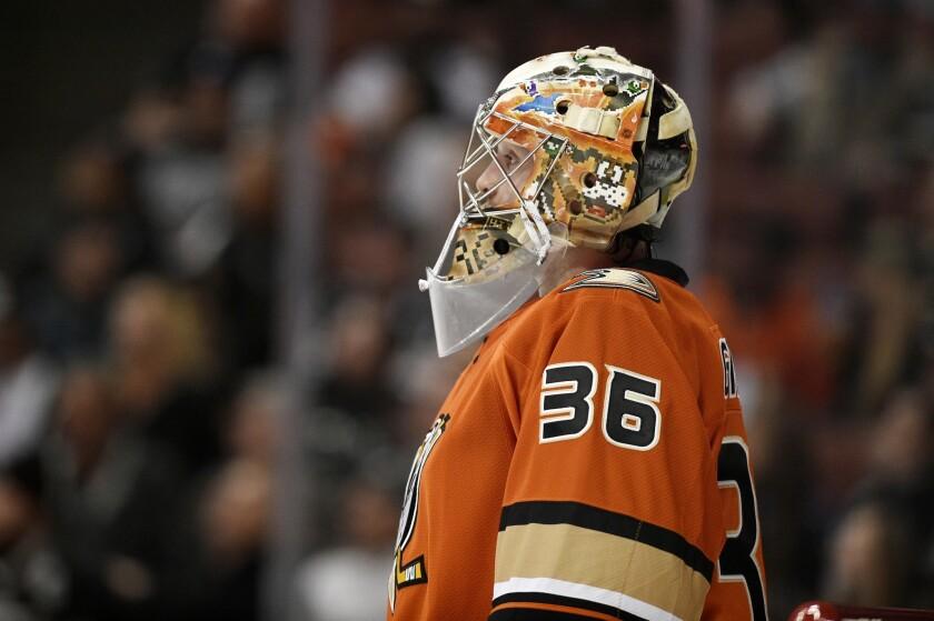 Ducks goalie John Gibson missed practice Thursday because of an illness.