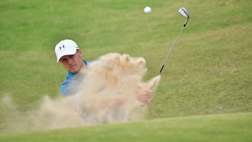 Jordan Spieth hits a bunker shot during a practice round prior to the British Open at Royal Birkdale on July 19.