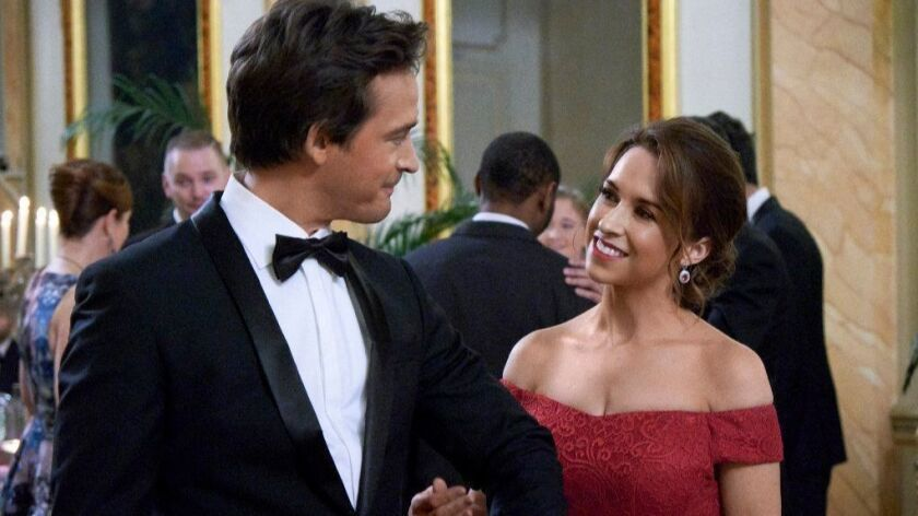 "Will Kemp and Lacey Chabert in ""Love, Romance & Chocolate"" on Hallmark."