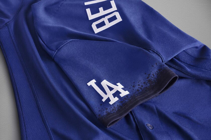A closer look of the Dodgers' Nike City Connect jersey.