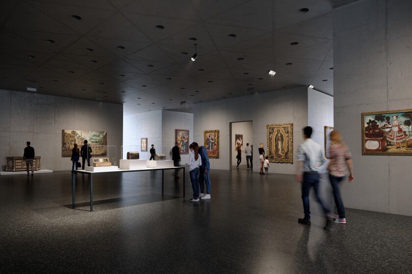 A horizontal view shows museum-goers strolling along black terrazzo floors among concrete walls hung with art.