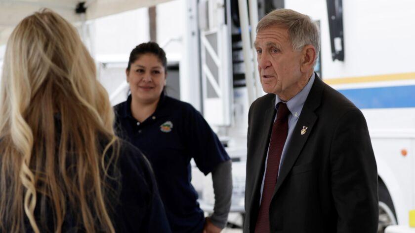 SANAT ANA CA APRIL 3, 2018 -- Federal court judge David O. Carter visits the Orange County Social S