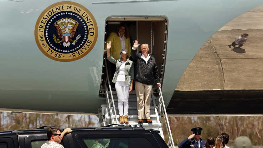 SAN JUAN, PUERTO RICO--OCT. 3, 2017--President Donald Trump and the First Lady arrive at the Jose Lu