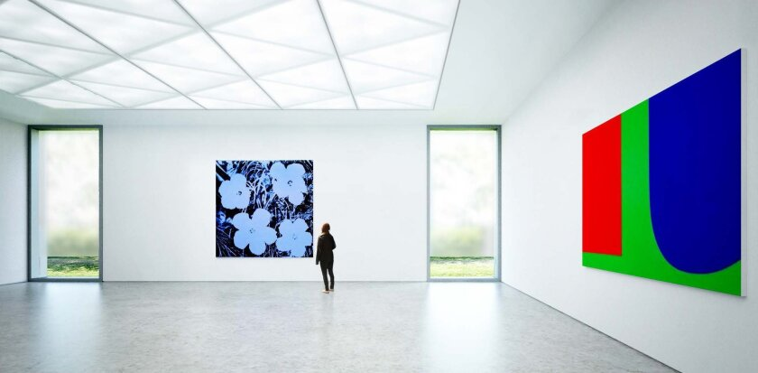 Concept for the interior of new gallery space at MCASD's La Jolla campus.