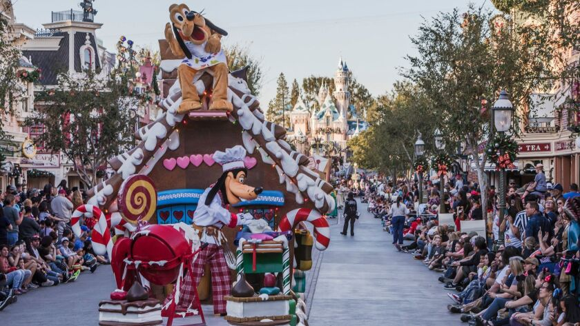 """Goofy's gingerbread house float is featured in the new """"A Christmas Fantasy"""" parade at Disneyland Park. playing daily through Jan. 6 as part of the Anaheim theme park company's 2018 Holidays at Disneyland Resort festivities."""