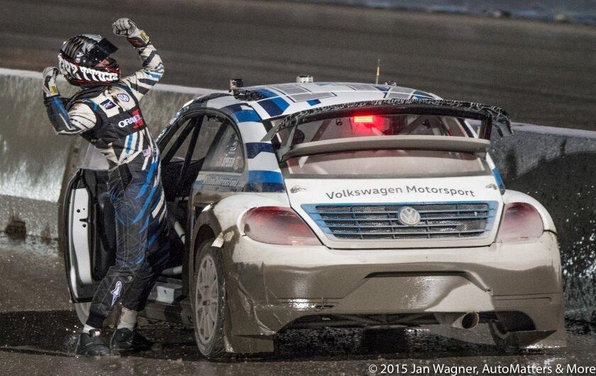 Scott Speed celebrates his season championship