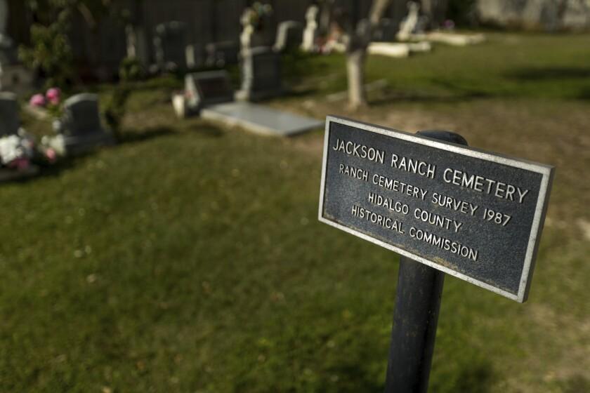 Placa del Cementerio del Rancho de Jackson de San Juan, Texas