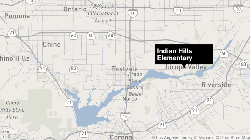 Map shows approximate location of Indian Hills Elementary School.