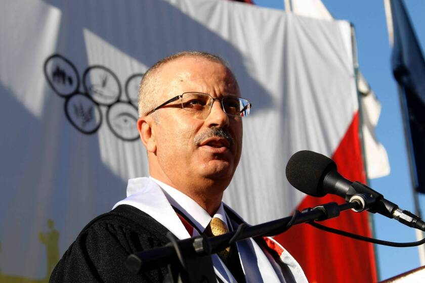 Rami Hamdallah, president of An Najah National University in Nablus, West Bank, was chosen as the Palestinian Authority's new prime minister.