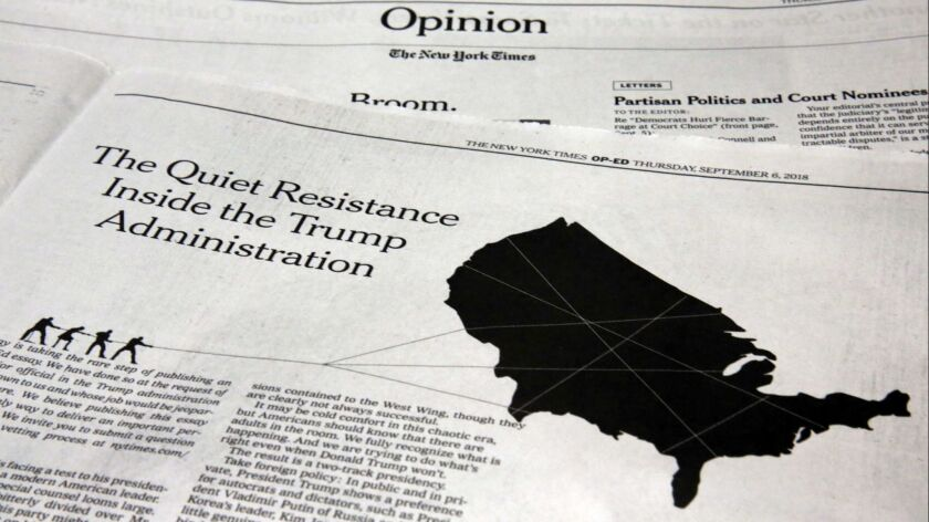 Shown is a copy of the Sept. 6 New York Times op-ed article written anonymously by a senior official in the Trump administration.