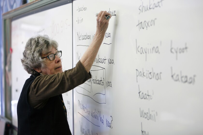SAN PEDRO, CA - April 26, 2018: UCLA linguist Pam Munro leads a monthly class in San Pedro where stu