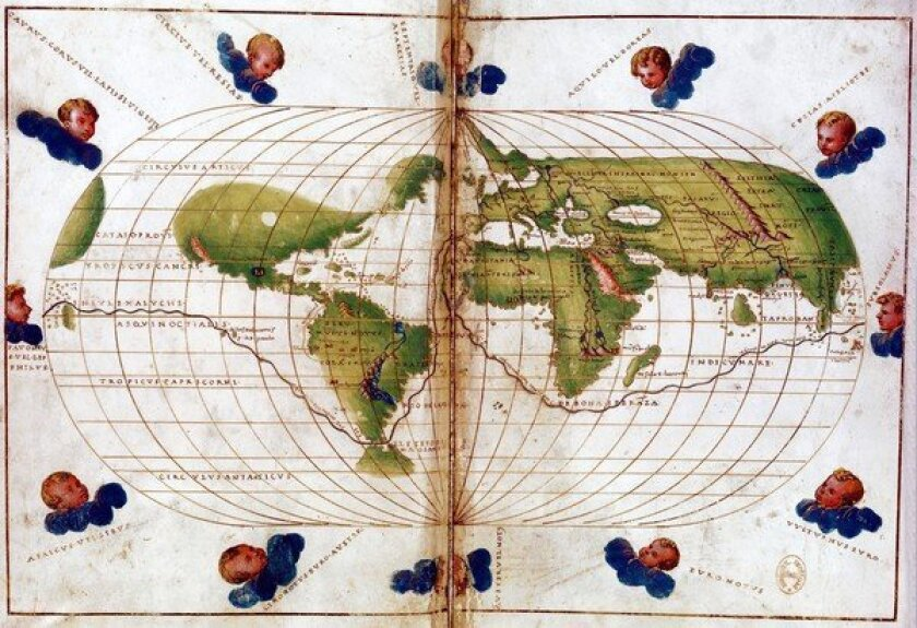 World map of route taken by Ferdinand Magellan (c. 1480-1521) when he led first circumnavigation of the globe 1519-21. Mercator projection.