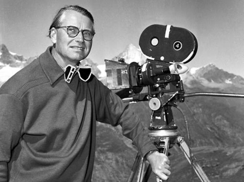 """Ken Annakin pictured on location in Switzerland, where he directed 1959's """"Third Man on the Mountain."""""""