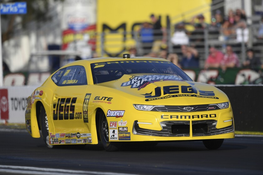 Jeg Coughlin Jr., a five-time pro stock champion, stayed in the top spot Feb. 8, 2020, in Pomona to earn his 33rd career No. 1 qualifier.
