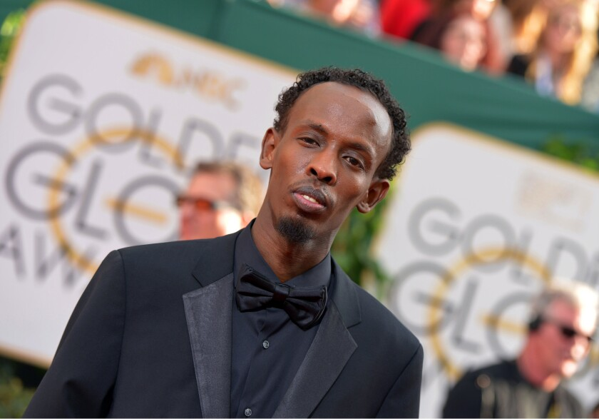 "Barkhad Abdi, a supporting actor nominee for ""Captain Phillips,"" arrives at the 71st Golden Globe Awards at the Beverly Hilton on Sunday."