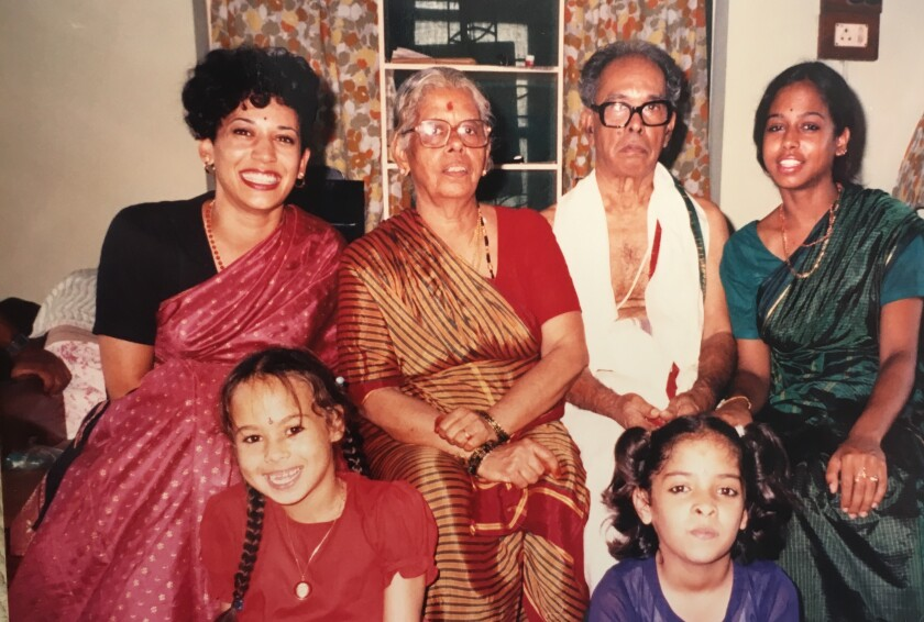 Kamala Harris with her grandparents and other relatives.