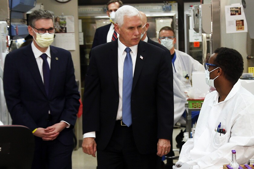 A maskless Vice President Mike Pence visits the Mayo Clinic.