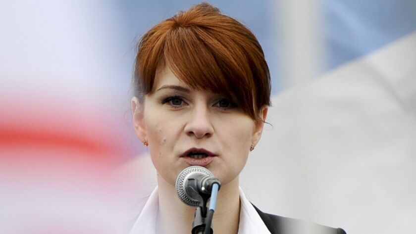 Maria Butina in Moscow in 2013. Her boyfriend, Paul Erickson, is facing charges in an 11-count indictment including wire fraud and money laundering.