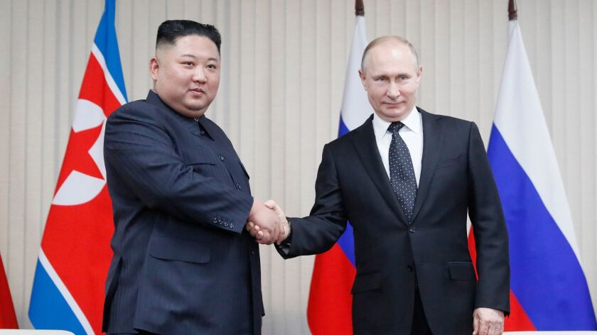 Russian President Vladimir Putin meets North Korean leader Kim Jong-un, Vladivostok, Russian Federation - 25 Apr 2019