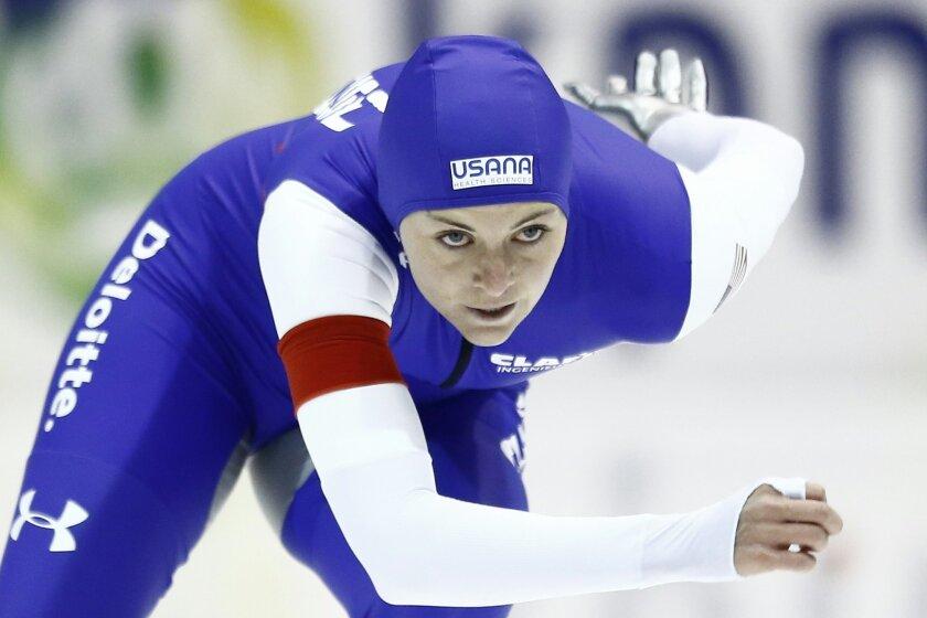 Heather Bergsma of the U.S. competes at the Speedskating World Cup in Heerenveen, Netherlands, on Dec. 13, 2015.