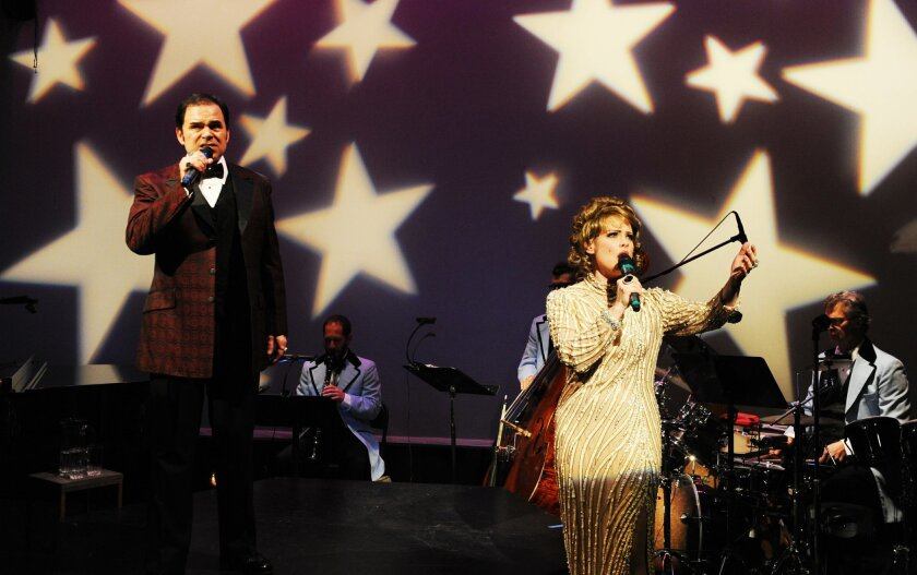 """Phil Johnson and Eileen Bowman are a song-and-dance duo enduring a rocky reunion in Lamb's Players Theatre's """"Pete 'n' Keely."""""""