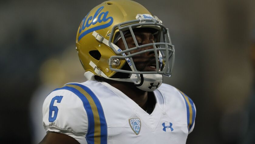 UCLA defensive back Adarius Pickett warms up before a game against Colorado on Sept. 28.