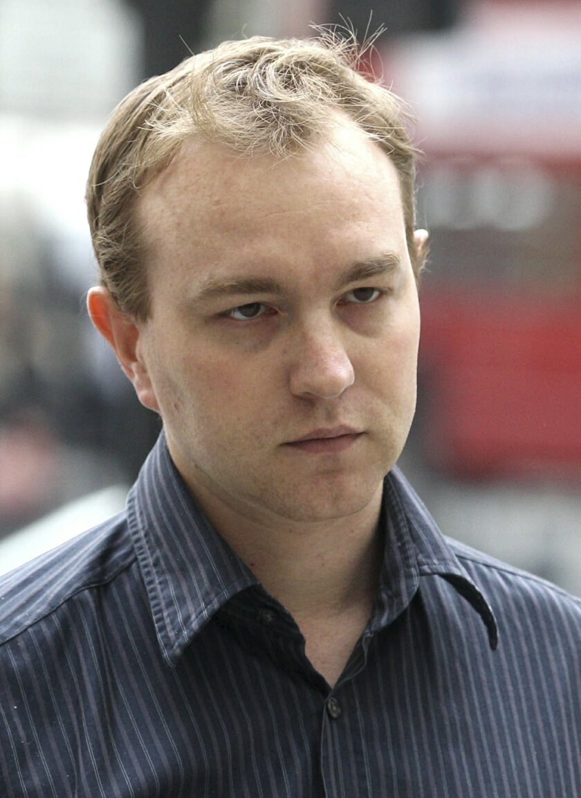 FILE - This is a June 20, 2013 file photo of former UBS and Citygroup trader Tom Hayes. A British prosecutor said Tuesday May 26, 2015 that former Citibank and UBS trader Tom Hayes who was motivated by greed served as the ringmaster of the alleged manipulation of a key interest rate, the London Interbank Lending Rate, or Libor. The charges against trader Tom Hayes, who specialized in products pegged to yen-denominated Libor, relate to the period from August 2006 to September 2010. He is charged with conspiring with employees from other leading institutions. (Lewis Whyld/PA File via AP) UNITED KINGDOM OUT