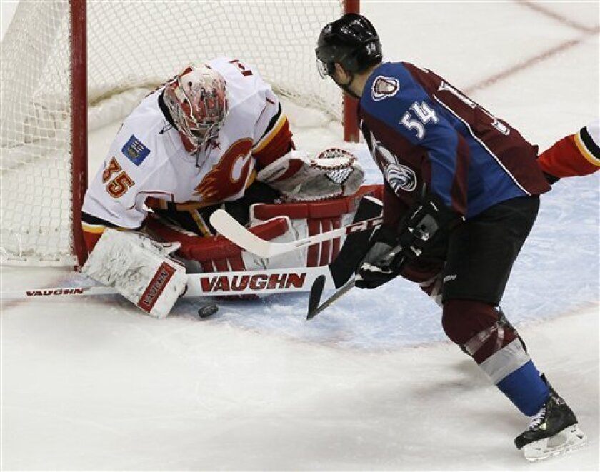Calgary Flames goalie Joey MacDonald, left, makes a stick save of a shot from Colorado Avalanche right wing David Jones during the first period of an NHL hockey game in Denver on Thursday, Feb. 28, 2013. (AP Photo/David Zalubowski)