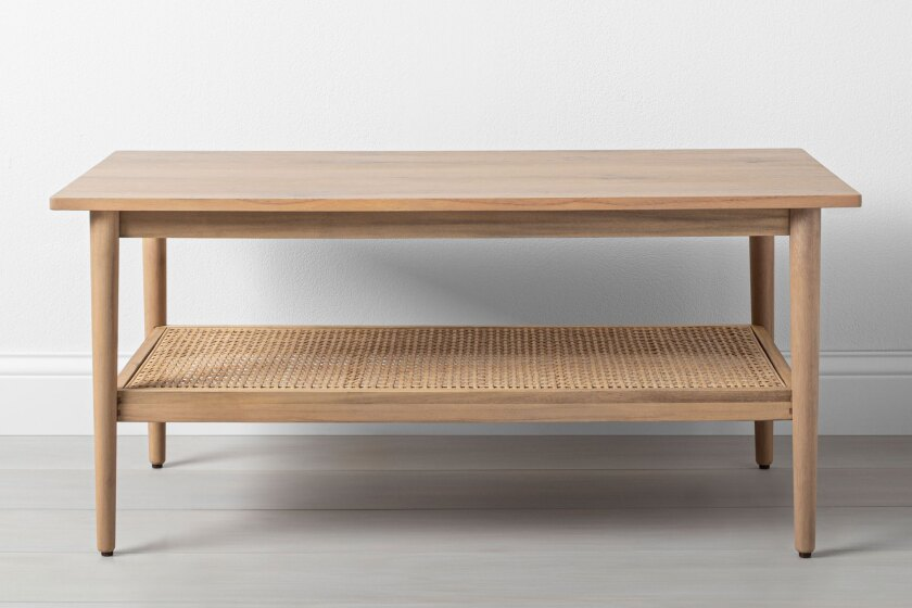 Wood and cane coffee table, $159.99 by Hearth & Hand