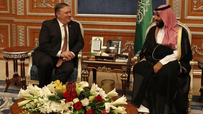 U.S. Secretary of State Michael R. Pompeo meets with Saudi Crown Prince Mohammed bin Salman in Riyadh in 2018.