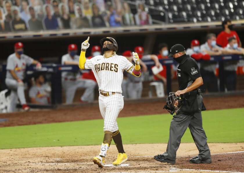 Fernando Tatis Jr. of the San Diego Padres celebrates a home run in the 7th inning