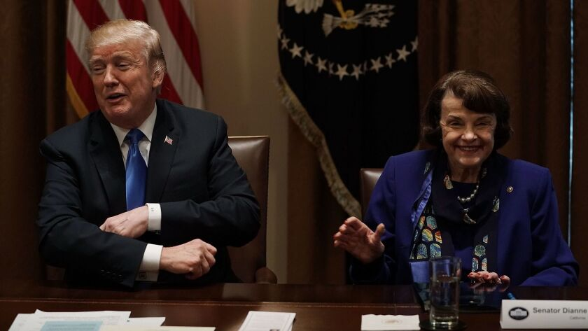 President Trump and Sen. Dianne Feinstein.