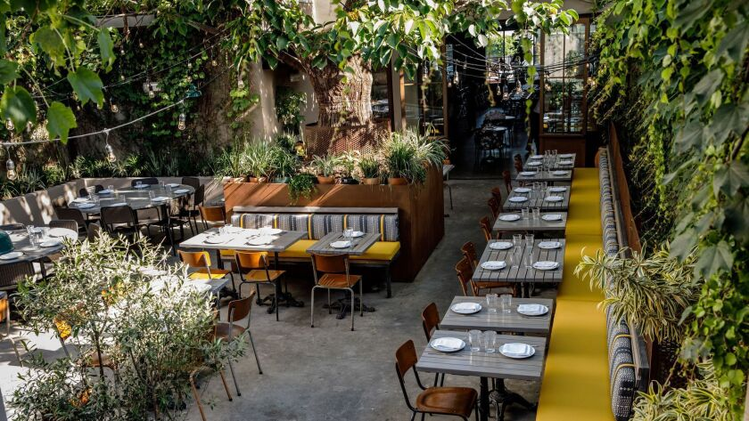 LOS ANGELES, CALIF. -- WEDNESDAY, JUNE 12, 2019: The outdoor dining area at Nic's, a new vegan resta