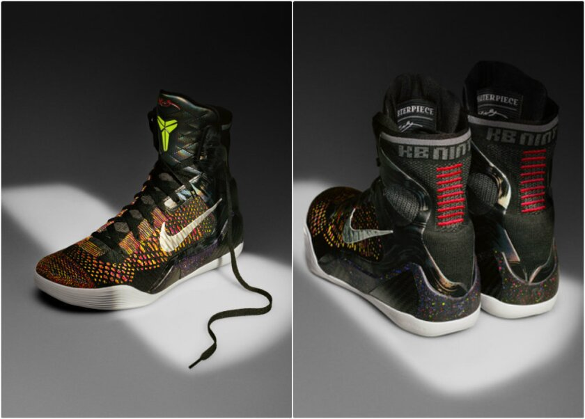 A front and rear view of the recently unveiled Kobe 9 Elite. The nine horizontal red lines running down each heel are a nod to Kobe Bryant's Achilles tendon surgery.