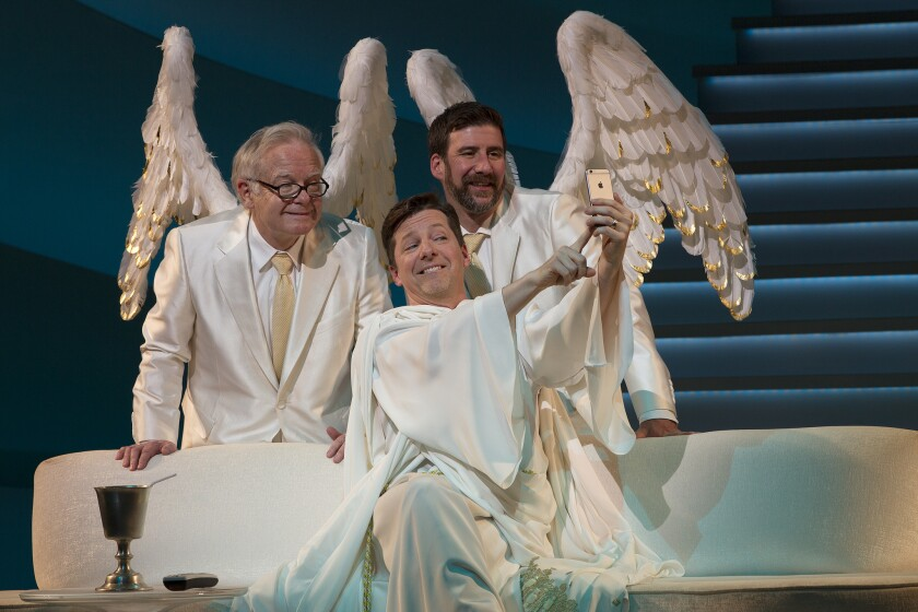 """James Gleason, left, Sean Hayes and David Josefsberg in """"An Act of God"""" at the Ahmanson Theatre."""
