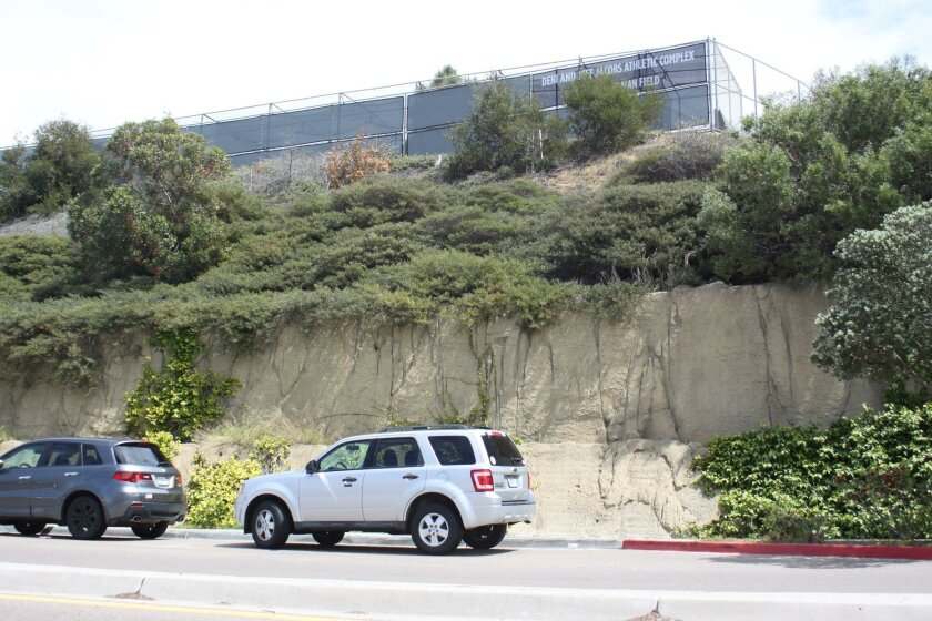 The proposed 'slope restoration' wall for Torrey Pines Road would mimic this retaining wall found on Fay Avenue.