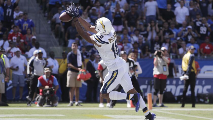 CARSON, CA, SUNDAY, SEPTEMBER 9, 2018 - Chargers receiver Mike Williams fails to catch a touchdown p