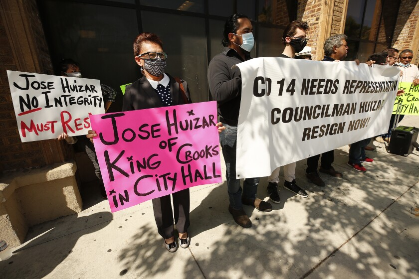 Immigrant-rights leaders and L.A. residents protest