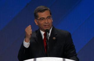 Rep. Xavier Becerra of California speaks at the Democratic National Convention