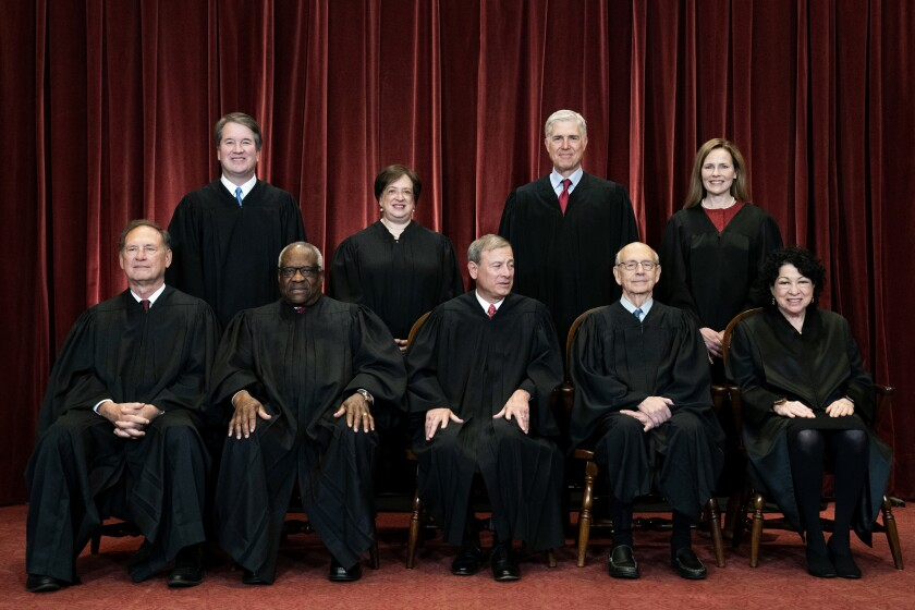 The nine Supreme Court justices in an April group photo
