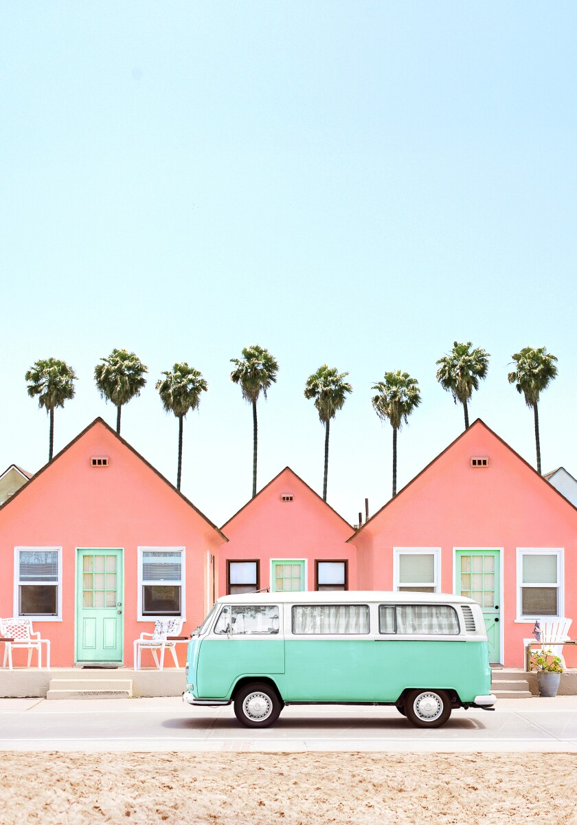 Pink cabins and a mint green Volkswagen bus