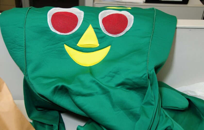 The Gumby costume impounded at the San Diego Police Department.