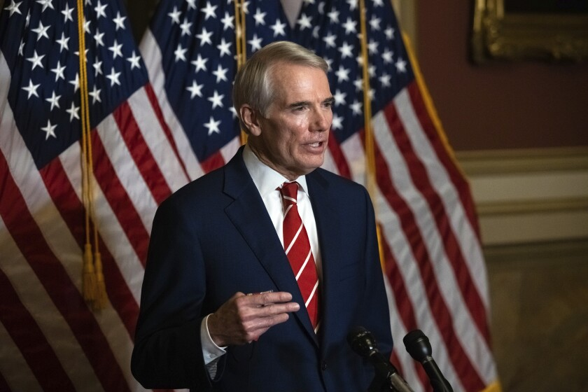 This file photo shows Sen. Rob Portman, R-Ohio, speaking during a news conference in Washington.