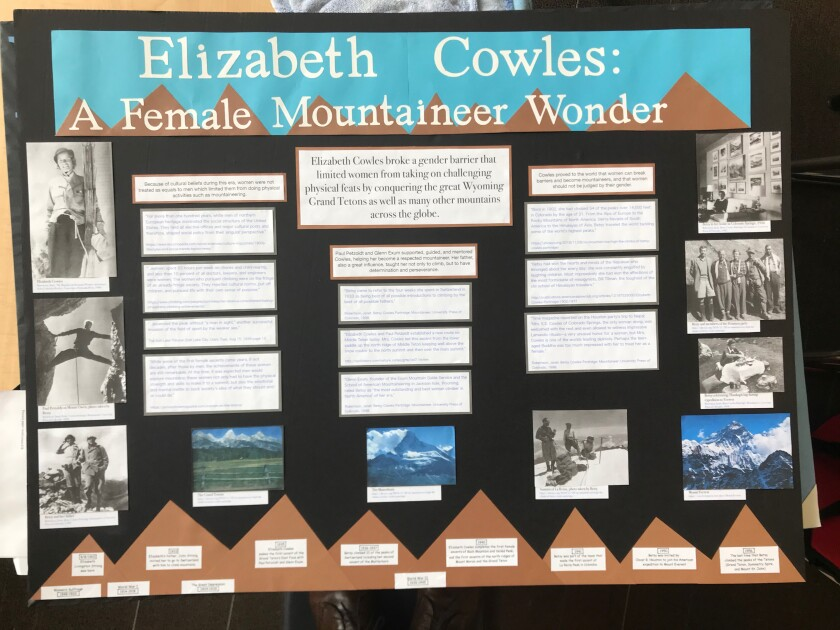 """Catherine Hassanein and Lisa Akin won for their project titled 'Elizabeth Cowles: A Mountaineer Wonder."""""""