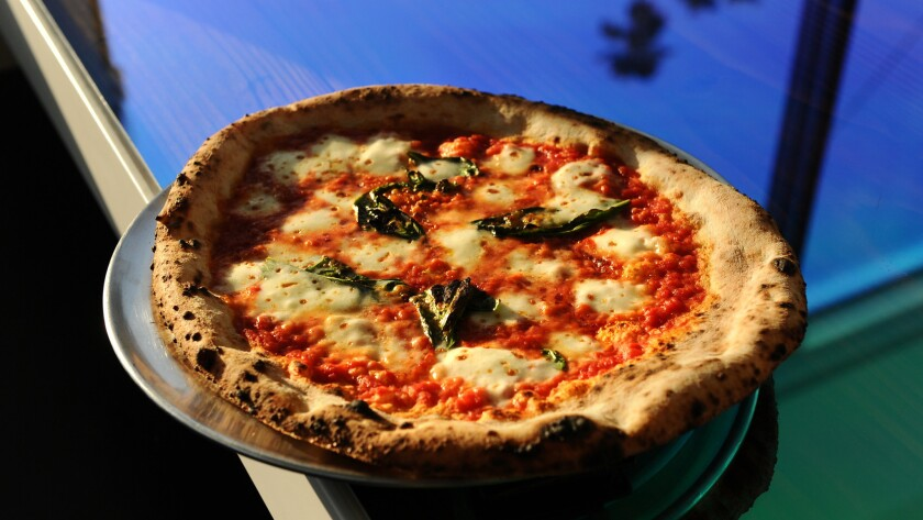 The Margherita pizza at Wood in Silver Lake, baked by Edgar Martirosyan, who delivered pizza to the Oscars.