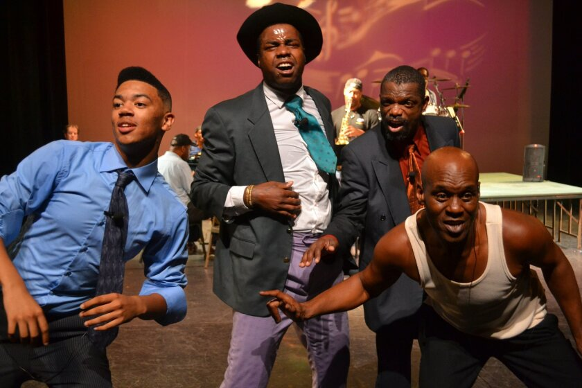 """Kevin Burroughs, Wreckless Watson, Ronnie Williams and Marvin Ivy (left to right) in """"Harlem, Harlem."""""""