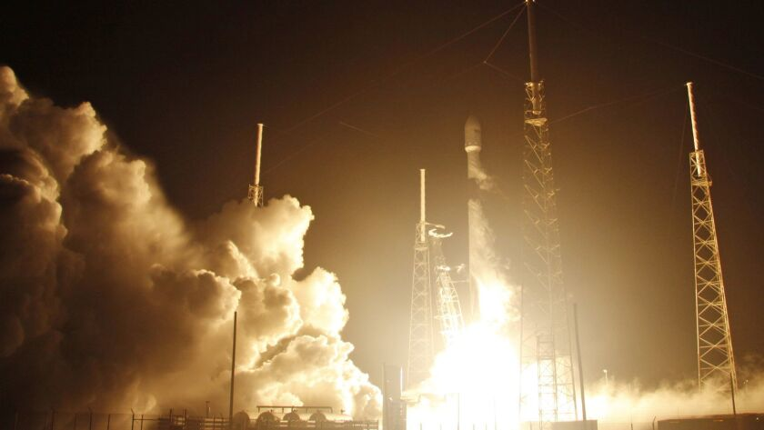 A SpaceX Falcon 9 rocket lifts off with an Israeli lunar lander and an Indonesian communications satellite from Cape Canaveral, Fla., on Feb. 21.