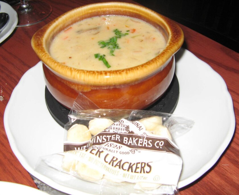 New England clam chowder at Green Dragon Tavern & Museum in Carlsbad. CREDIT: Pam Kragen