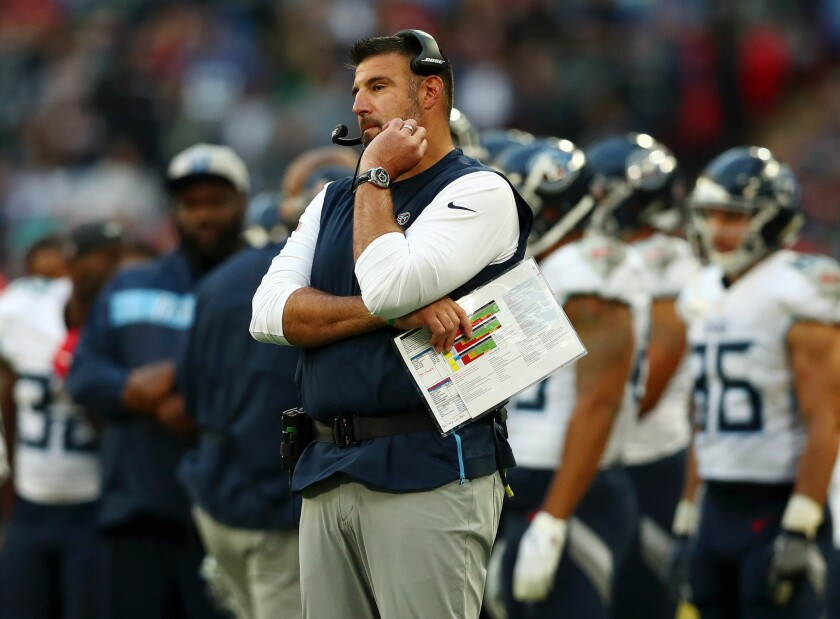 Tennessee coach Mike Vrabel is a disciple of New England coach Bill Belichick.