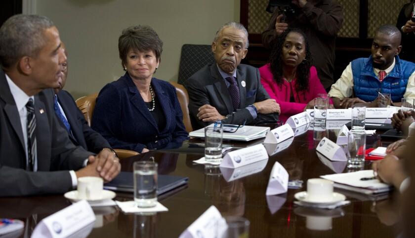 Barack Obama,  Al Sharpton, Valerie Jarrett, Sherrilyn Ifill, Deray McKesson,